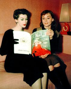 Dovima and Audrey Hepburn on the set of Funny Face (1957)