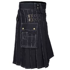 """Modern stylish cargo utility kilt in black colour is fashionable enough to show off and very practical to use for various purpose such as sports, casual or general clothing wears. 🌐 Shop now @ """"Gentry Choice"""" Scottish Costume, Utility Kilt, Purpose, Shop Now, Kilts, Stylish, Casual, How To Wear, Colour"""