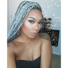 LaTia Tia Hassell Grey Silver Extension Box Braids Black Beauty African American Hair Style