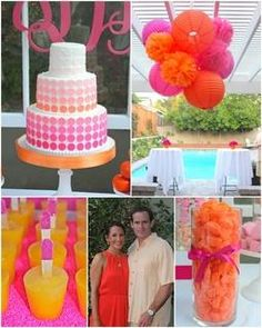una fiesta fucsia y naranja de