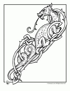 Celtic Dragon Coloring Page 6 - print for free