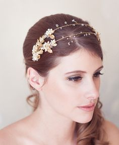 Gilded Gold Leaves & Enamel Flower Double Headband Also Comes In Silver!
