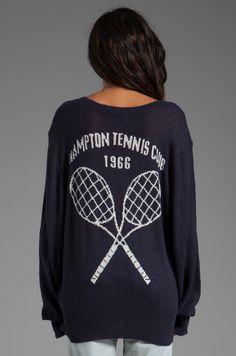 Wildfox Couture Hampton Tennis Club School Girl V-Neck Sweater in Uniform Navy | REVOLVE