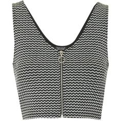 TOPSHOP Zig-Zag Crop Top ($8.64) ❤ liked on Polyvore featuring tops, crop tops, shirts, tank tops, silver, front zipper shirt, v-neck shirts, shirt top, zip front top and shirt crop top