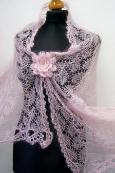 bridal stole lace knitted pale pink. $160.00, via Etsy.