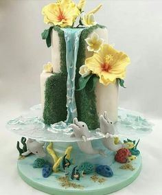 Hawaii Torte Cake Delfin Meer dolphin sea Wasserfall waterfall You are in the right place about Cake Design logo Here we offer you the most beautiful pictures about the Cake Design for beginners you a Gorgeous Cakes, Pretty Cakes, Cute Cakes, Fancy Cakes, Amazing Cakes, Unique Cakes, Creative Cakes, Fondant Cakes, Cupcake Cakes