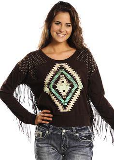 Rock & Roll Cowgirl Aztec Pullover Sweater with Fringe: Sierra Western Wear