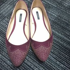 Forever 21 burgundy/wine flats with gold studs Worn just once to work but too narrow for my wife feet! Great condition with no scuffs. Gold colored mini studs Forever 21 Shoes Flats & Loafers