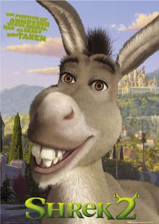God spoke thru a Donkey (gave it speech) to mercifully spare Balaam, even tho he was heading off to curse God's chosen people for $$.  Shrek's donkey was an incessant talker but  wanted to help Shrek on his journey to save a princess (in order to have peace in his swamp-home) and both donkeys annoyed.  Shrek's donkey tamed a dragon while B's donkey avoided the fiery angel of God's wrath. God winked at Balaam, turning a curse on its head by prophesying thru Balaam blessings on Israel instead.