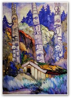 (via Emily Carr: Who Is She?) Haida Totems, Cha-atl, Queen Charlotte Island by Emily Carr, 1912 Tom Thomson, Canadian Painters, Canadian Artists, Native Art, Native American Art, Native Canadian, Impressionist Paintings, Impressionism, Emily Carr Paintings
