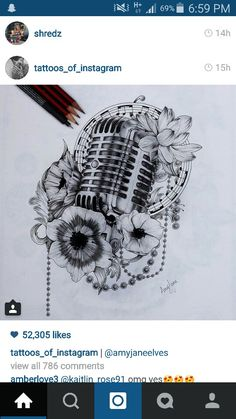 Microphone tattoo idea                                                                                                                                                      More