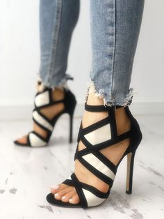 Contrast Color Caged Bandage Heeled Sandals : Shop Contrast Color Caged Bandage Heeled Sandals right now, get great deals at cbrstyle. Shop Contrast Color Caged Bandage Heeled Sandals right now, get great deals at cbrstyle. Cute Shoes, Me Too Shoes, Women's Shoes, Shoe Boots, Strappy Shoes, Golf Shoes, Crazy Shoes, Dress Shoes, Awesome Shoes