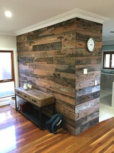 Recycled Timber for feature wall in Lounge Room Timber Feature Wall, Timber Wall Panels, Timber Walls, Timber Panelling, Wood Cladding Interior, Wall Cladding, Blue Bedroom Walls, Feature Wall Bedroom, Timber Kitchen