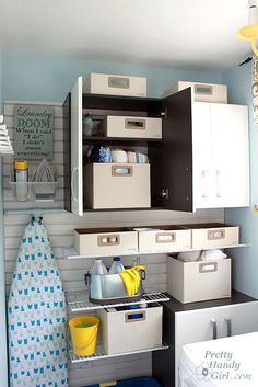 Laundry Room adjustable shelves and cabinets How-to from Pretty Handy Girl blog