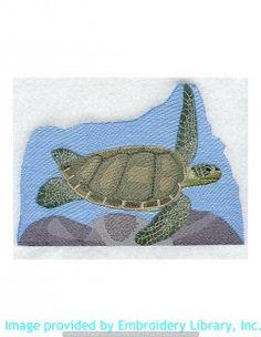 Stickmotiv Stickbild Aufnäher Stickerei Emblem Schildkröte  Schildkröte /  Stickerei Sea Turtle (M2364)