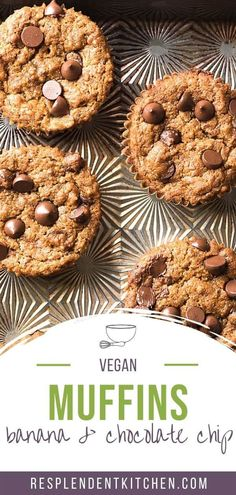 Our Vegan Banana Chocolate Chip Muffins are soft and moist with a sweet, banana-y flavor. Freshly baked, there is a surprise of melted chocolate chips that make them utterly addicting. They're packed with fiber, potassium, and antioxidants to power your day, but thankfully they don´t skimp on flavor! #vegan #refinedsugarfree #glutenfree #muffins #veganbreakfast Banana Chocolate Chip Muffins, Melting Chocolate Chips, Melted Chocolate, Chocolate Peanuts, Chocolate Sweets, Vegan Chocolate, Healthy Vegan Snacks, Healthy Desserts, Coconut Almond Milk