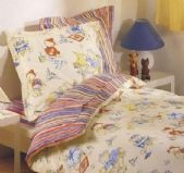 Treat your little one to a delightfully designed Duvet Cover Set with Mousallion by Kouchini, featuring adorable teddy bears playing in a gentle, traditional design reminiscent of Paddington Bear. The soft red and blue on cream will add a playful, colourful splash of colour to their room with fabulous pinstripes on the reverse for all kinds of decor possibilities.  http://www.heirloomlinens.com/product.aspx?ProductID=1079=62