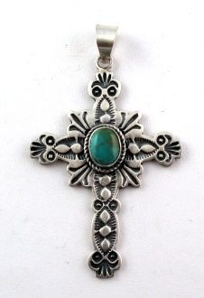 Stamped Silver Cross with Turquoise