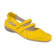 Ballerina Genua in sonnigem Gelb macht gleich Lust auf Sommer! Hier der Original-NaturalFeet-Schuh direkt vom Hersteller für 99,90€  ♥Echtes Hirschleder ♥Super bequem ♥Keine Schwitzefüßchen ♥Austauschbares Fußbett