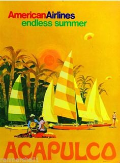 Acapulco American Airlines Endless Summer Vintage by WallArty Louise Fili, Vintage Films, Vintage Travel Posters, Vintage Airline, American Airlines, Airline Travel, Air Travel, Travel Ads, Beach Travel