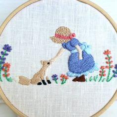 女の子と〇〇シリーズ5 女の子と子ぎつね 触りたいんだけど、ちょっと怖い 怖いんだけど、触りたい という感じを表現しました i want to touch but a little bit scared #刺繍#手刺繍#手芸#手芸部 #ハンドメイド#handmade #embroideryart #embroidery#вышивка#broderie#bordado#女の子#needlework#자수#hobby#趣味 #myhobby #hobbycraft