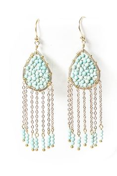 Gold Turquoise Beaded Chain Drops