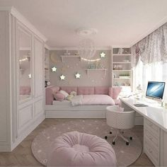 42 Awesome Teenage Girl Bedrooms and Dream Rooms Ideas Teenage Girl Bedrooms Awesome Bedrooms Dream Girl Ideas Rooms Teenage Small Apartment Bedrooms, Small Room Bedroom, Trendy Bedroom, Bedroom Girls, Small Rooms, Cozy Bedroom, Modern Bedroom, Spa Bedroom, Bedroom Storage