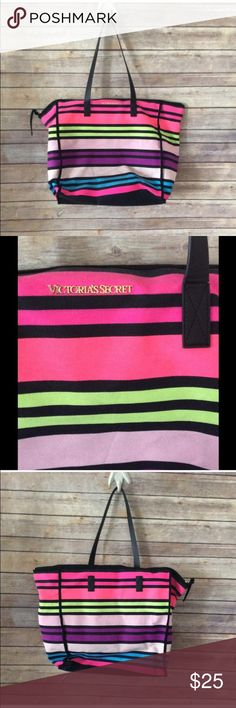 🚨24hr SALE🚨Victoria's Secret Large Beach Bag Amazingly colored VS bag, this thing is gorgeous! Great condition despite missing one of the side straps. 🎁Great Gift 🎁 Victoria's Secret Bags