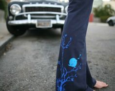 women's Yoga Pants, stretch cotton with songbird- available in S, M, L, XL - Navy and Black-Custom length- WorldWide Shipping