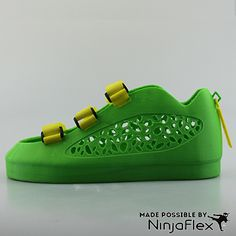 NinjaFlex filament is flexible yet strong and can be used in most 3D printers that use ABS or PLA Plastic. Image = Leopard Shoes by Michelle