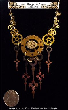 so i really enjoy these steampunk pieces. i have done some with gears and clock hands....they really are an art and when i am at craft shows those are the ones that even men stop to look at and pick up.....especially anything with old keys.