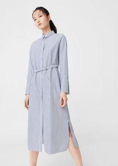 Randig skjortklänning -  Damer | MANGO Sverige