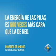 La energía de las pilas es 600 veces más cara que la de red.#ConsejosAhorro