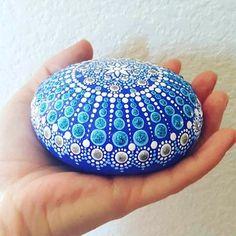 Silver Jewel Mandala Painted Rock - free postage in USA