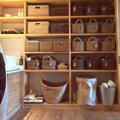 ニトリ かご収納バスルーム Pantry Organisation, Organization Hacks, Wall Storage, Storage Spaces, Condominium Interior, Bath Shelf, Vintage Laundry, Tidy Up, Diy Kitchen