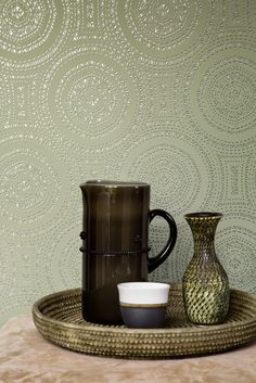 In this wallpaper collection you will see beautiful Eastern influences combined with modern geometric patterns. Ornate prints with a touch of silver and red . Wallpaper Bedroom, Bohemian Wallpaper, Ikea Dining Room, Bohemian Bedroom, Bohemian Bedroom Decor, Bedroom Green, Bedroom Decor, Wall Coverings, Bedroom Wall Colors