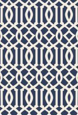 Wallcovering / Wallpaper | Imperial Trellis II in Ivory / Navy | Schumacher