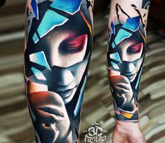 Surrealistic Face tattoo by A D Pancho