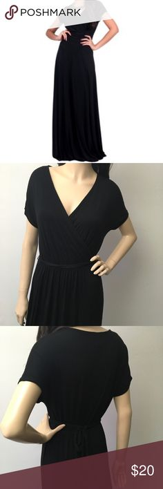 Dolman Sleeve Jet Black Maxi Dress  Faux wrap chest with dolman sleeves, and tie belt. This dress is so soft and stretchy. So easy to wear for any occasion. Looks cute with a jean jacket too. Great condition.  Old Navy Dresses Maxi