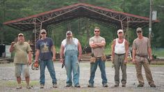 "Antique Cabins and Barns employees, from left to right, Tim Rose, Sherman Thompson, Brian Buckner, Mark Bowe, Johnny Jett and Graham Ferguson are also cast members for  DIY Network's new show titled ""Barnwood Builders."""