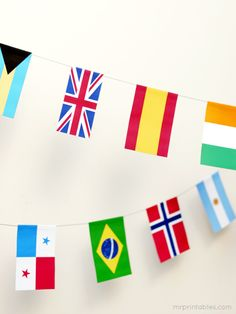 world flags bunting - FREE printable world flags