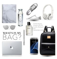 """Backpack"" by tesoro-mia ❤ liked on Polyvore featuring Samsung, Beats by Dr. Dre, Vinyl Revolution, Converse, LORAC, Bobbi Brown Cosmetics, backpack and inmybackpack"