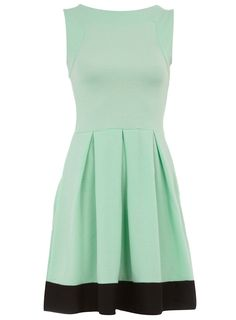 mint & black color block dress