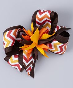 This Brown & Orange Chevron Bow Clip by Picture Perfect Hair Bows is perfect! #zulilyfinds
