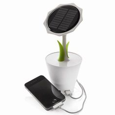 This unique sunflower brings solar energy to you. The rechargeable lithium battery inside is powerful enough to easily charge your mobile phone or player and the solar charger has an USB output and mini-USB input. This item includes a mini USB cable. Renewable Energy, Solar Energy, Solar Power, Green It, Green Eyes, Cool Technology, Technology Gadgets, Green Technology, Medical Technology