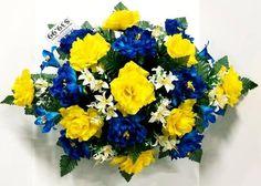 Yellow Flower Centerpieces, Yellow Flowers, Silk Flowers, Blue Peonies, Cemetery Flowers, Peony Rose, Fruit Arrangements, Greenery