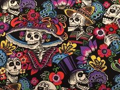 This is a top quality quilting cotton in Alexander Henry's classic Mexican design. cotton, Some of us think EVERY day should be Dia de los Meurtos. Mexico Wallpaper, Alexander Henry, Sugar Skull Art, Mexican Designs, Weaving Textiles, Painting Furniture, Day Of The Dead, Art Day, Felting