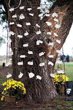 mattress springs leaning up against a tree used as an escort card holder