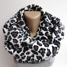 leopard fleece scarf ,infinity scarves ,winter fashion accessories ,trendy scarf on Etsy, $18.00