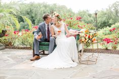 The green couch, the side table, the floral crown, that bouquet!  Venue: potomacpointwinery Photographers: kassielayne, aliraehaney   Styled Shoot Coordinator: klaynestyled Gown: avalaurennebride Florist: bergeronsflower Beauty: evergreenbeauty.nova & magnificent_mane17 Rentals: smthingvintage, dcreventrentals & paisleyandjade Garden Wedding, Summer Wedding, Boho Gown, Bohemian Wedding Inspiration, Floral Crown, Engagement Session, Real Weddings, Vines, Wedding Photos